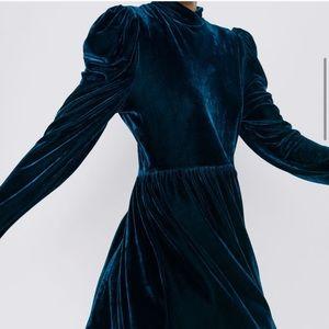 Zara Puff Sleeves Teal Velvet Dress